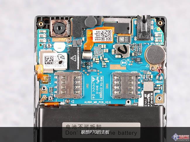 联想p70t主板,元件器密集遍布pcb板上